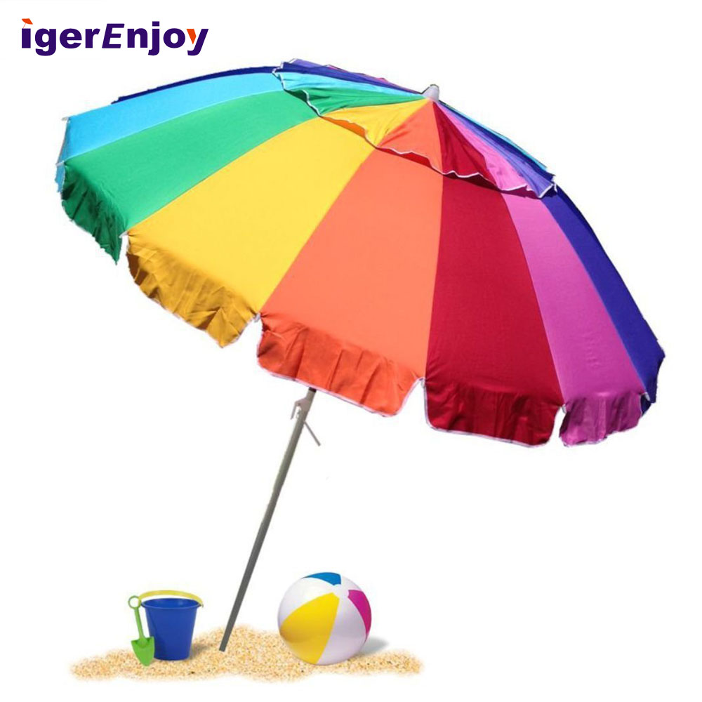 Colorful Beach Umbrella With Screw Handle