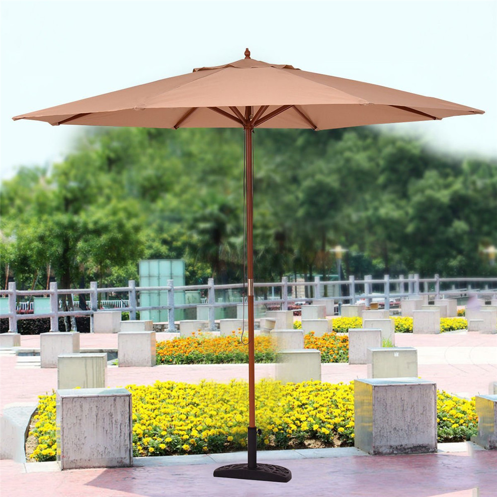 3M Wooden Outdoor Patio Umbrella