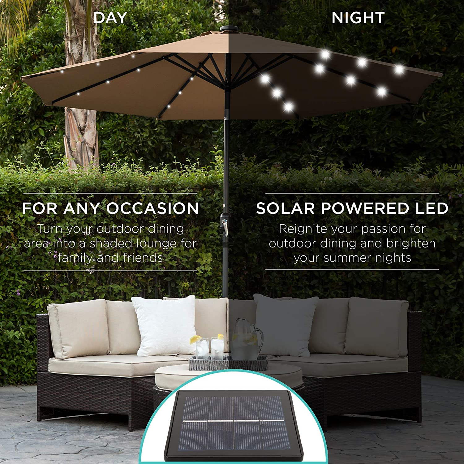 Large LED Lighted Patio Umbrella